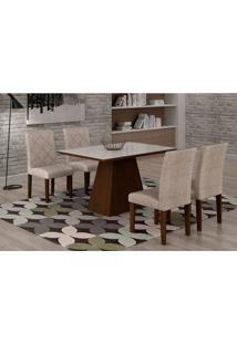 Conjunto De Mesa De Jantar Luna Com 4 Cadeiras Ane I Suede Amassado Castor, Branco E Chocolate