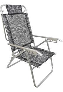 Cadeira Praia Reclinável Zaka Infinita Up Alumínio Até 120 Kg Zebra