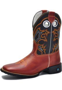 Bota Texana Over Boots Bico Quadrado Couro Telha