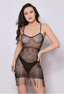 Mini Vestido De Alças Com Franjas 6017 Yaffa
