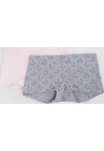 Kit Com 2 Calcinha Infantil Boxer - Tam P Ao Gg