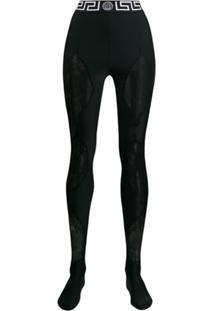 Versace Legging Com Recorte Em Renda - Preto