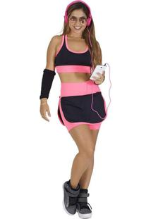 Conjunto Fitness Supplex Cós Alto Short-Saia Top Fluorescente Rosa