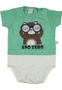 Body Infantil Malha Listrada Catalina E Cotton Castor Com Óculos Ano Zero Masculino - Masculino-Verde+Branco