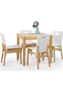 Mesa Com 4 Cadeiras De Jantar Tucupi 80Cm - Acabamento Natural E Laca Branco
