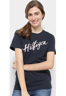 Camiseta Tommy Hilfiger Feminino Viola Feminino - Feminino-Marinho