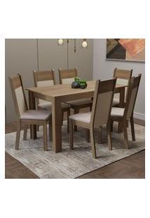 Conjunto Sala De Jantar Madesa Medelin Mesa Tampo De Madeira Com 6 Cadeiras Rustic/Crema/Bege Rustic