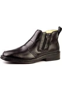 Botina Couro Doctor Shoes 916 Pespontos Preta