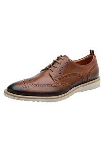 Sapato Oxford Masculino Couro Moderno Confortável Marrom 37 Marrom
