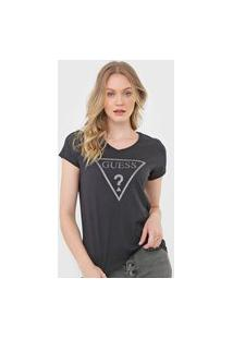 Camiseta Guess Logo Glitter Preta