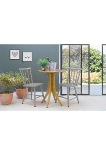 Mesa Com Duas Cadeiras Redonda Juliette - Amêndoa E Cinza Concreto