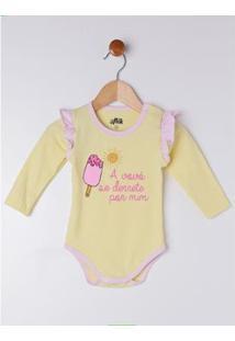 Body Bebê Flik Feminino - Feminino-Amarelo