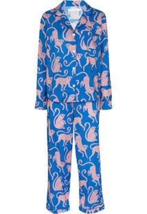 Desmond & Dempsey Pijama Chango Com Estampa - Azul