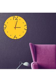 Relógio De Parede Decorativo Premium Amarelo Com Números Vazados Médio