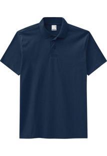 Camisa Azul Polo Tradicional Em Meia Malha