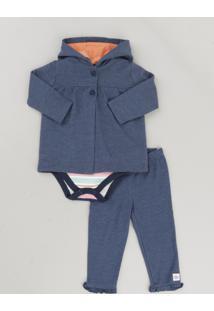 Conjunto Infantil De Blusão + Calça + Body Listrado Azul Marinho