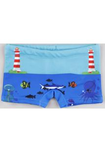 Sunga Infantil Boxer Estampada Fundo Do Mar Azul