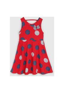 Vestido Kyly Infantil Poá Vermelho/Azul-Marinho