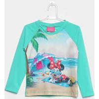 Camiseta Infantil Tip Top Manga Longa Minnie Praia Menina - Feminino-Verde e3a0aa3a7a5e9