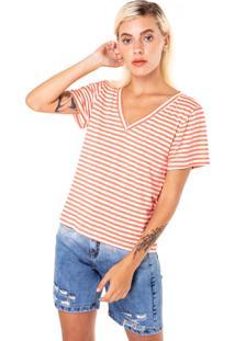 T-Shirt Karamello Básica Listras Coloridas Coral