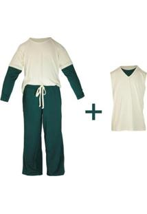 Pijama Infantil Gummi Asbjorn 3 Peças Masculino - Masculino-Branco+Verde