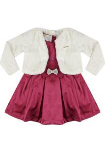 Vestido Acetinado Com Bolero Ser Garota Vermelho