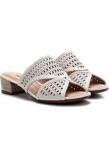 Sandália Dakota Laser Salto Baixo Feminina - Feminino-Branco