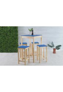 Mesa Bistrô Com 4 Banquetas Gourmet De Madeira Maciça Olga - Verniz Natural E Azul
