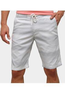 Bermuda De Sarja Ecxo Listrada Masculina - Masculino-Cinza+Branco