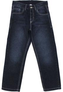 Calça Tóing Jeans De Cós Ajustável Escura - Kanui