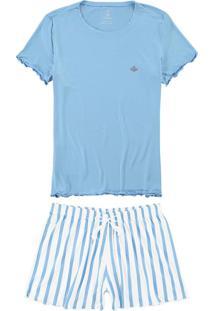 Pijama Azul Claro Em Viscose Com Strass