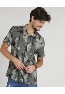 Camisa Masculina Estampada Tropical Manga Curta Gola Esporte Preta