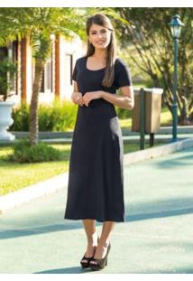 Vestido Longuete Preto Moda Evangélica