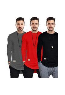 Kit 3 Camisas Longline Manga Longa 100% Algodáo 30.1 Di Nuevo Street Wear
