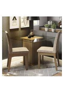 Conjunto Sala De Jantar Madesa Lili Mesa Tampo De Vidro Com 2 Cadeiras Rustic/Fendi