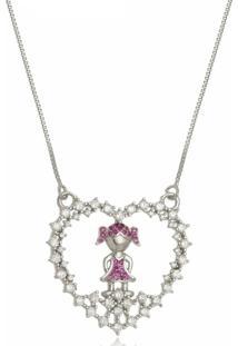Colar Mandala Em Coração Com Menina 3Rs Semijoias Folheado A Ouro 18K - Kanui
