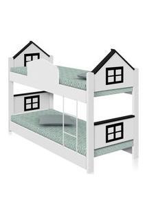 Beliche Infantil Casa Adesivada Preta Com Colchões Casah