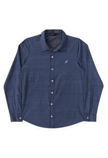 Camisa Ml Infantil Tricoline Maquinetad Johnny Fox - Azul - 10 Azul