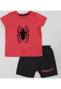 Pijama Infantil Homem Aranha Manga Curta Vermelho