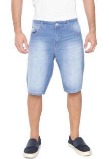 Bermuda Jeans Coca-Cola Jeans Reta Estonada Azul