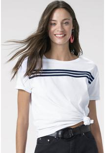 T-Shirt Em Malha Canelada Com Listras Frontais