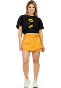 Camiseta Clara Arruda Gira Sol Feminina - Feminino-Preto