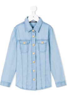 Balmain Kids Camisa Jeans - Azul