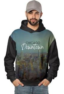 Casaco De Moletom Night Chicago Downtown Di Nuevo Masculino - Masculino-Preto