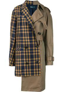 Kolor Trench Coat Com Recorte Contrastante - Marrom