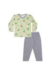 Conjunto Pijama Menino Em M/Malha Camiseta Rotativa Dinossauros Marfim E Calça Mescla - Liga Nessa