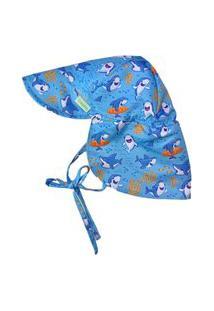 Chapéu Australiano Infantil Fpu 50+ Eco&Play Baby Shark Azul