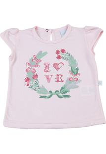 Camiseta Manga Curta Gentle Silk Love Ano Zero Rosa