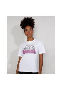"""T-Shirt Feminina Mindset Com Bordado Carnaval No Sofá"""" E Paetês Manga Curta Decote Redondo Branca"""""""