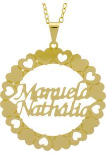 Gargantilha Horus Import Pingente Manuscrito Manuela Nathália Banho Ouro Amarelo